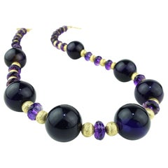 Purple Amethyst with Gold Accents Necklace February Birthstone