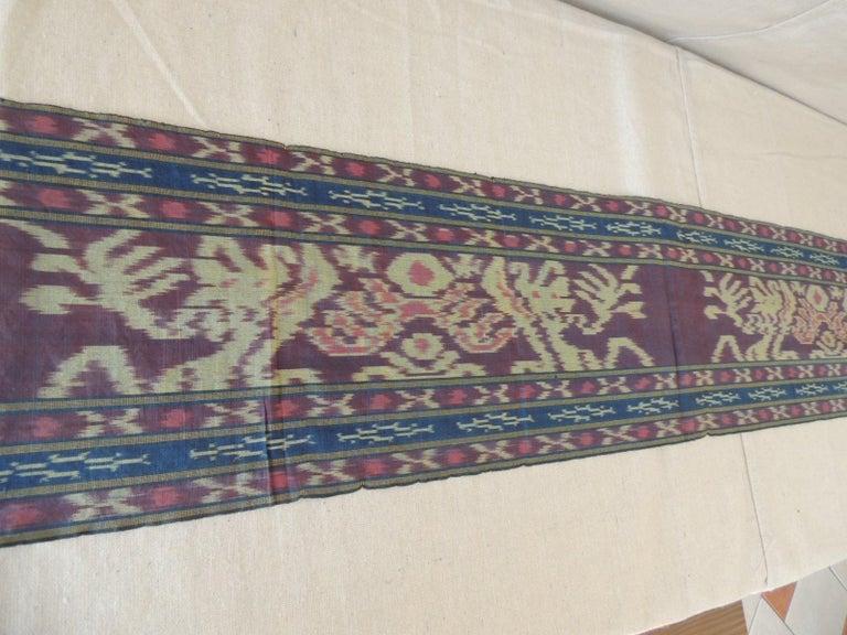 Tribal Purple and Blue Ikat Sash Textile Panel For Sale
