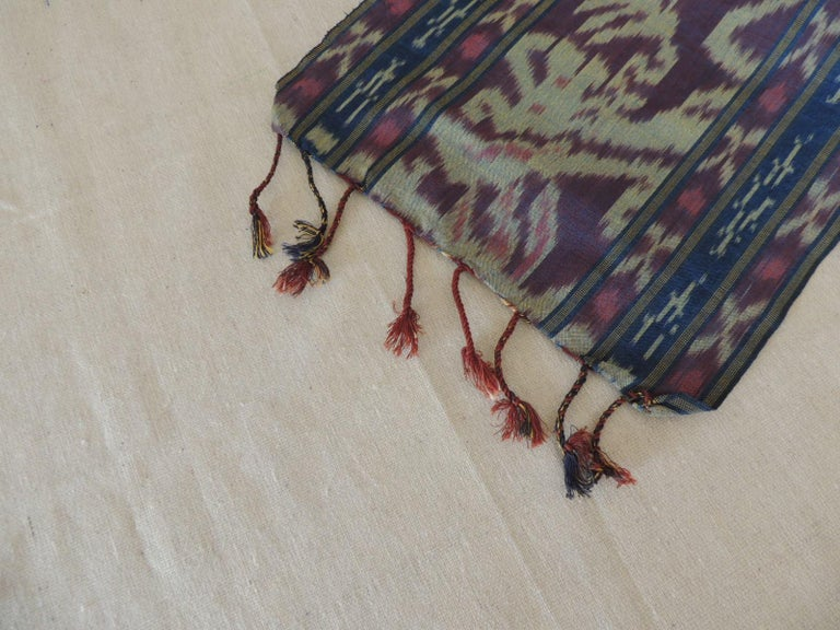 Indonesian Purple and Blue Ikat Sash Textile Panel For Sale