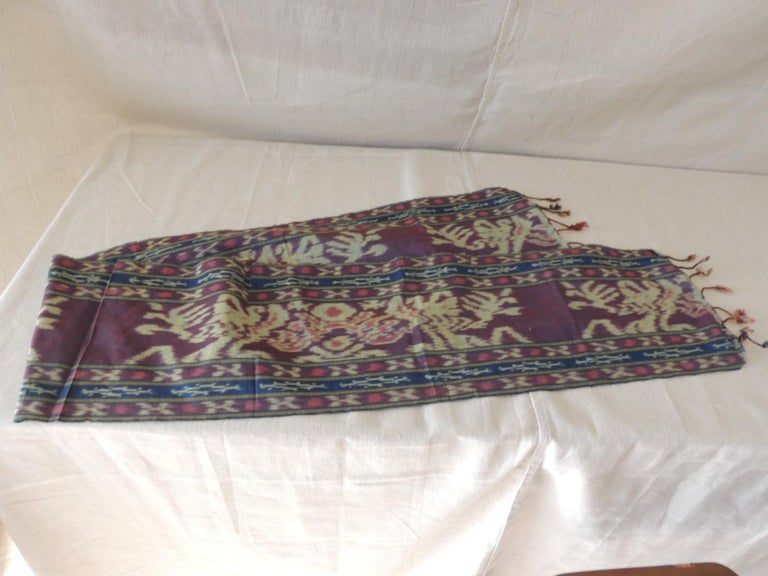 Hand-Crafted Purple and Blue Ikat Sash Textile Panel For Sale