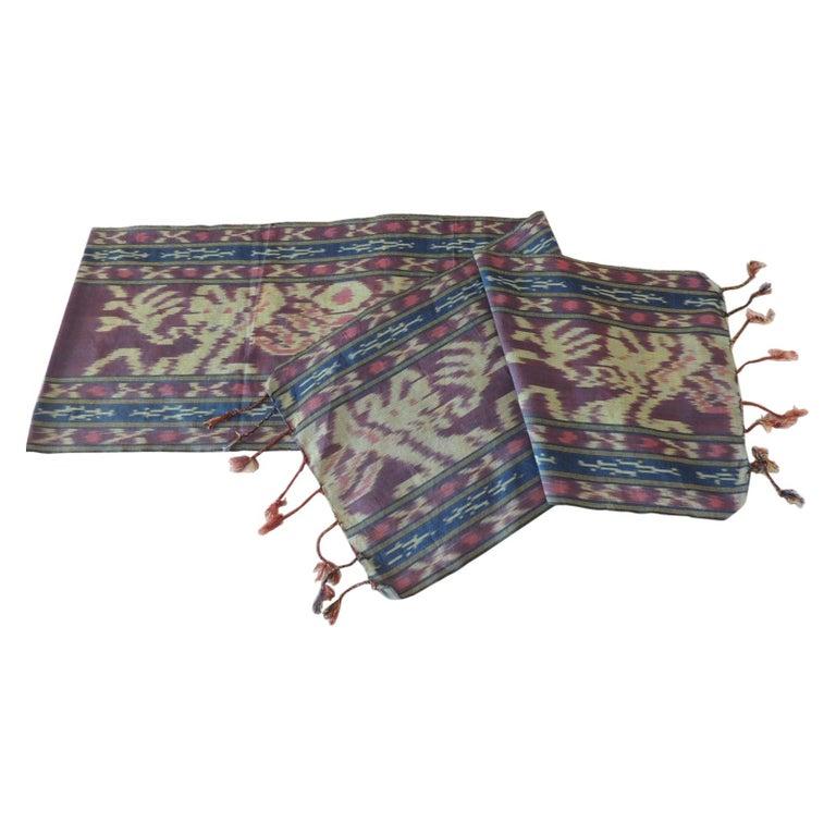 Purple and Blue Ikat Sash Textile Panel For Sale