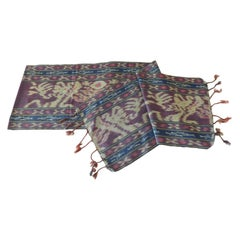 Purple and Blue Ikat Sash Textile Panel
