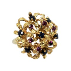 Purple and Blue Sapphire Cluster Dome Cocktail Ring in 14 Karat Yellow Gold
