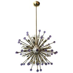 Purple and Clear Burst Murano Sputnik
