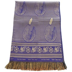 Purple and Gold Silk Throw with Fringes