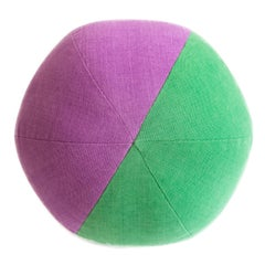 Purple and Green Round Throw Pillow