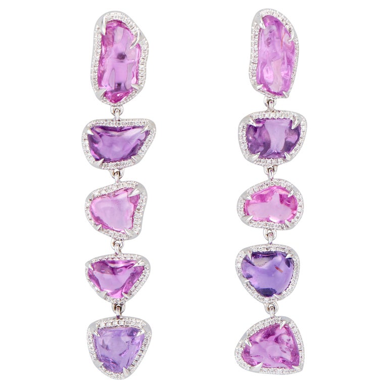 Ri Noor purple and pink sapphire linear drop earrings, 2019