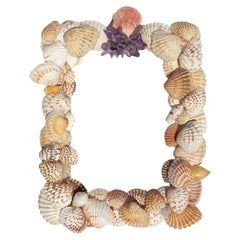 5 x 7 Shell Photo Frame with pink purple and white sea shells and gem stones
