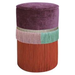 Purple and Red Couture Geometric Line Pouf