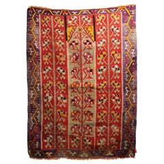 Purple and Red Tribal Style Turkish Kilim Handwoven Wool