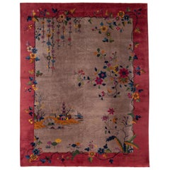 Antique Art Deco Brown and Red Chinese Handmade Wool Rug
