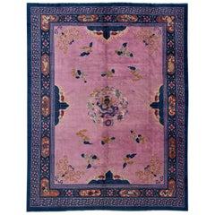 Purple Antique Unique Beijing Dragon Handmade Wool Rug