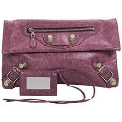 Purple Balenciaga Leather Envelope Clutch