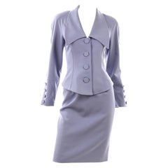 Purple Blue Albert Nipon Vintage Skirt & Jacket Suit With Dramatic Collar Lapel