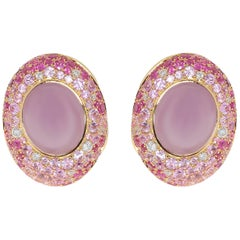 Purple Chalcedony 8.58 Carat Pink Sapphire Diamonds 18 Karat Gold Earrings