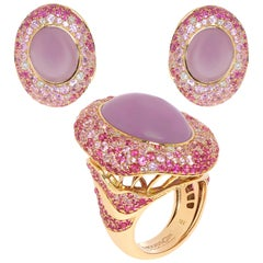 Purple Chalcedony Pink Sapphire Diamonds 18 Karat Yellow Gold Suite