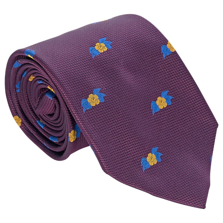 Chanel Purple Silk Patterned Tie For Sale