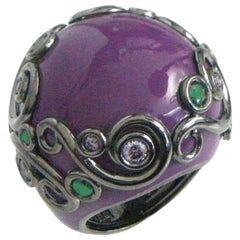 Purple Color Enamel Round Silver Ring with Tzavorite and Peridot