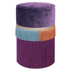 Purple Couture Geometric Line Pouf