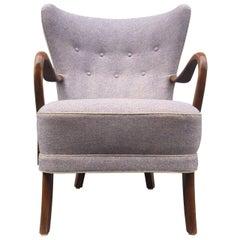 Purple Danish High Back Lounge Chair by Alfred Christensen for Slagelse