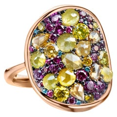 Purple Diamond, Fancy Yellow Diamond Rose-Cut Diamond Cocktail Ring