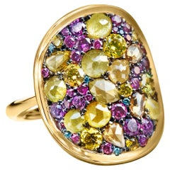 Purple Diamond, Fancy Yellow Diamond Rose-Cut Diamond Cocktail Ring