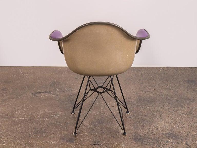 Mid-Century Modern Purple Eames Padded Armshell Chair on Black Eiffel Base for Herman Miller For Sale