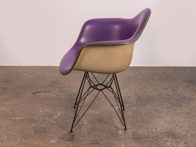 American Purple Eames Padded Armshell Chair on Black Eiffel Base for Herman Miller For Sale