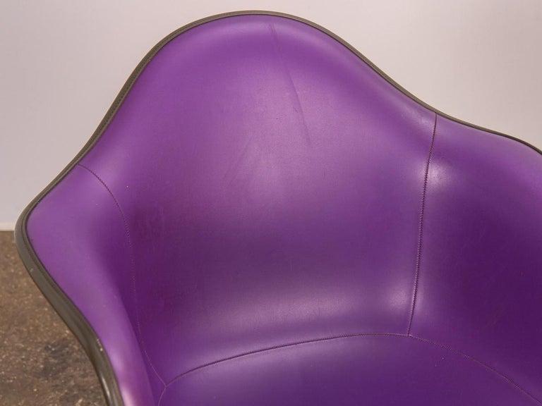 Molded Purple Eames Padded Armshell Chair on Black Eiffel Base for Herman Miller For Sale