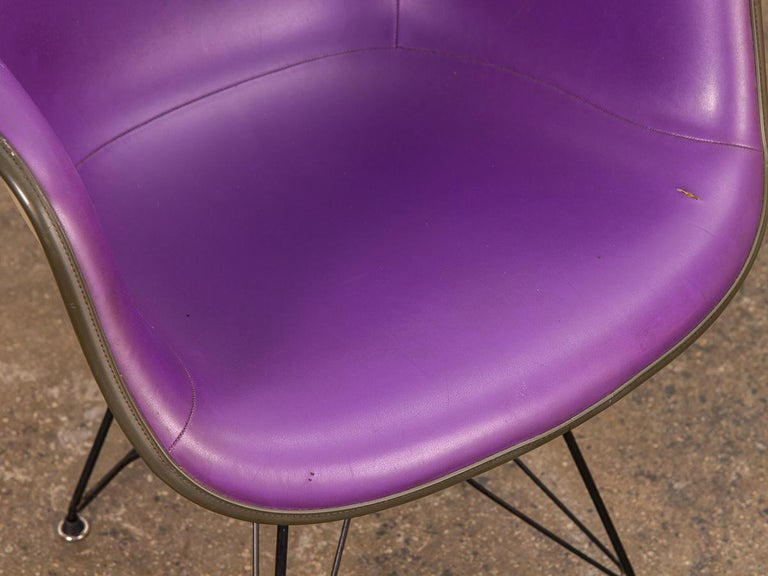 Purple Eames Padded Armshell Chair on Black Eiffel Base for Herman Miller In Good Condition For Sale In Brooklyn, NY