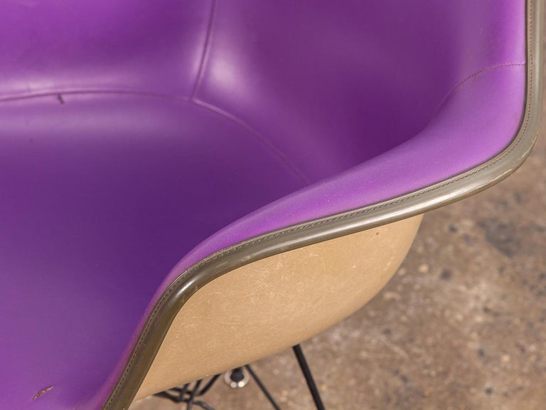 20th Century Purple Eames Padded Armshell Chair on Black Eiffel Base for Herman Miller For Sale