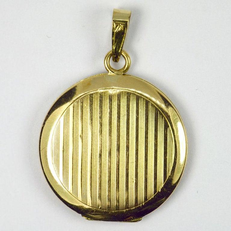 Purple Enamel 18k Yellow Gold Pendant Locket For Sale 1
