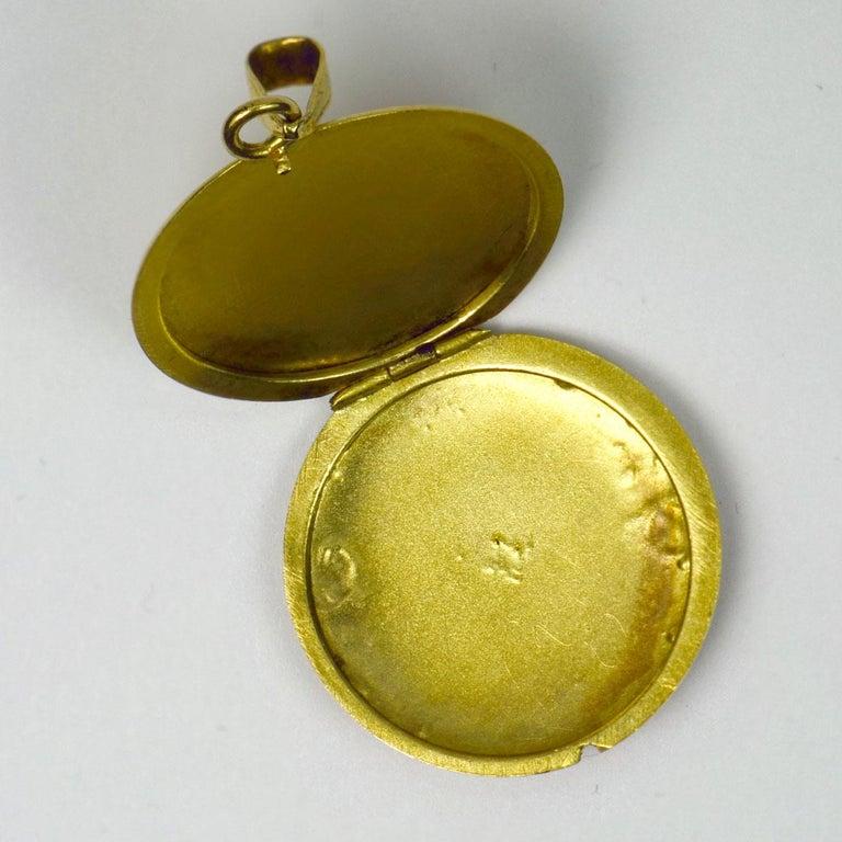 Purple Enamel 18k Yellow Gold Pendant Locket For Sale 2