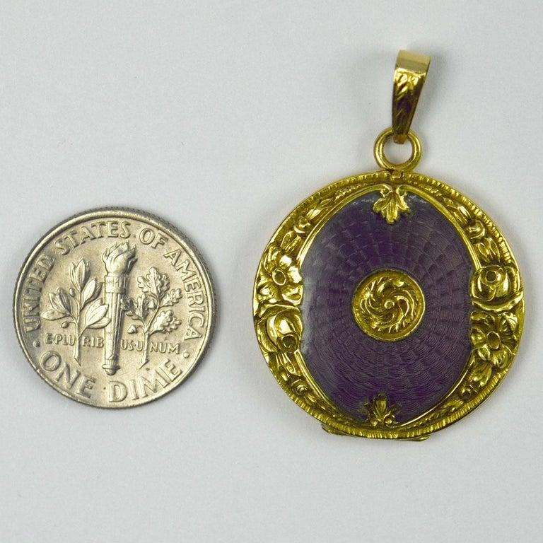 Purple Enamel 18k Yellow Gold Pendant Locket For Sale 3