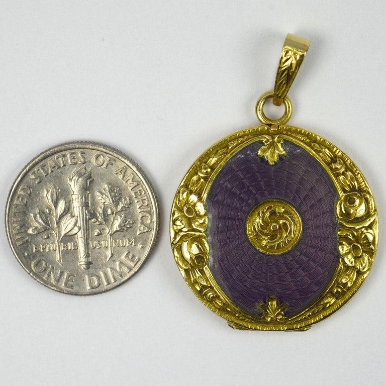 Purple Enamel 18k Yellow Gold Pendant Locket For Sale 4