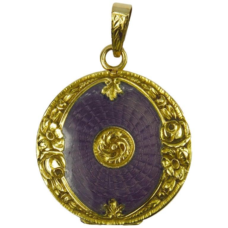 Purple Enamel 18k Yellow Gold Pendant Locket For Sale