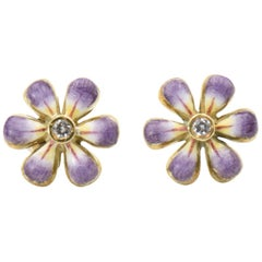 Purple Enamel Daisy Diamond Gold Earrings by Sandra J. Sensations