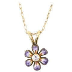 Purple Enamel Daisy Flower Diamond Gold Pendant Necklace by Sandra J Sensations