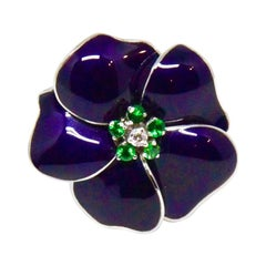 Purple Enamel Diamond Green Garnet White Gold Flower Cocktail Ring