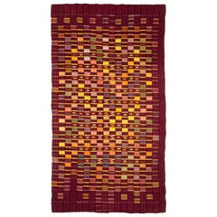Purple Ewe Kente Cloth African Textile, Midcentury