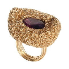 Purple Faceted Oval Amethyst 14 kt Gold F Cocktail Statement Ring by the Artist