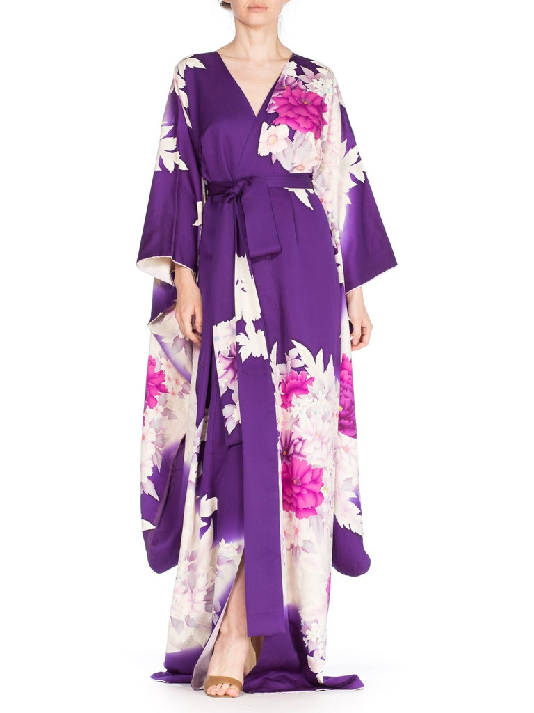 Purple Floral Silk Japanese Kimono Dress For Sale At 1stdibs