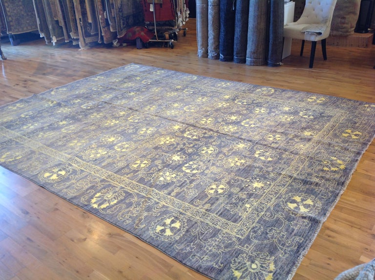 Hand-Knotted Purple Floral Stencil Design Wool and Silk Area Rug For Sale