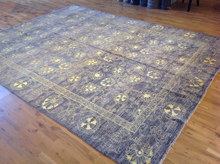 Contemporary Purple Floral Stencil Design Wool and Silk Area Rug For Sale