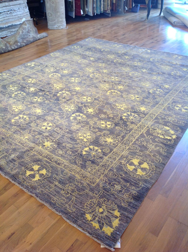 Purple Floral Stencil Design Wool and Silk Area Rug For Sale 1