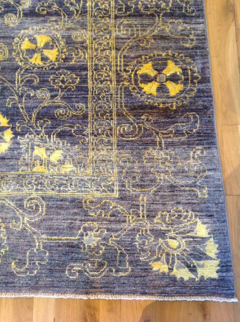 Purple Floral Stencil Design Wool and Silk Area Rug For Sale 2