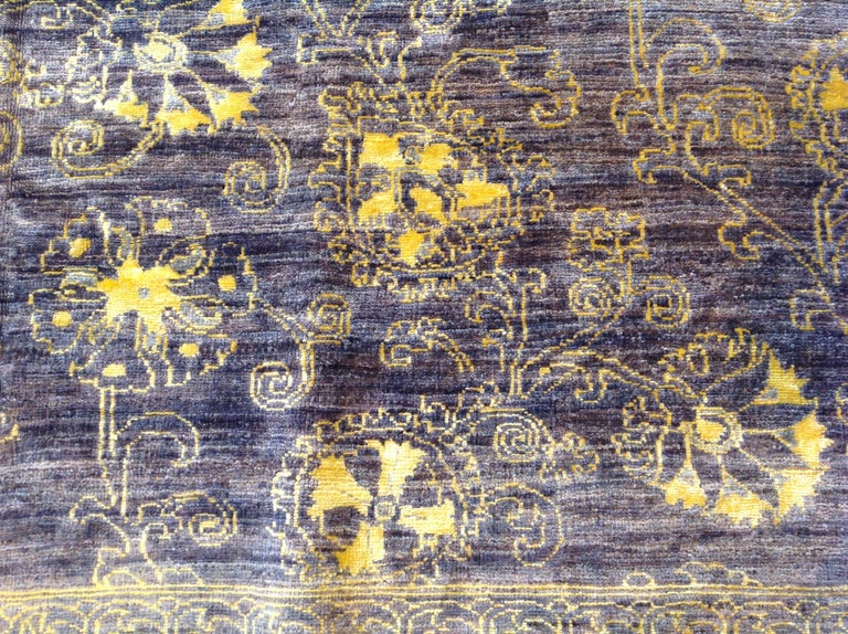 Purple Floral Stencil Design Wool and Silk Area Rug For Sale 3