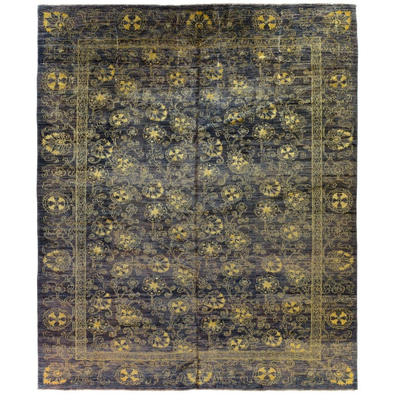 Purple Floral Stencil Design Wool and Silk Area Rug For Sale