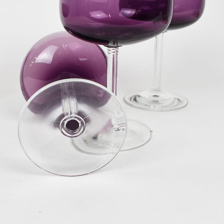 American Purple Fostoria Crystal Stemware Champagne Coup Glasses, Set of 4 For Sale