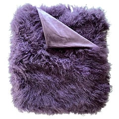 Purple Fur Throw Blanket, Mongolian Fur